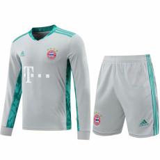 20-21 Bayern Grey Goalkeeper Long Sleeve Soccer Jersey(Full Sets)