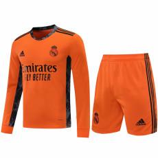 20-21 RMA Orange Goalkeeper Long Sleeve Soccer Jersey (Full Sets )