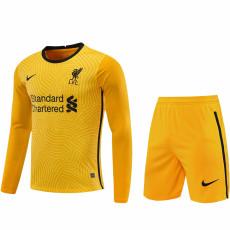 20-21 LIV Yellow Goalkeeper Long Sleeve Soccer Jersey(Full Sets)