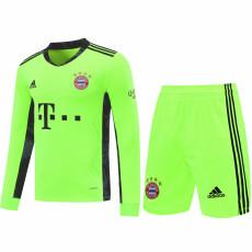 20-21 Bayern Green Goalkeeper Long Sleeve Soccer Jersey(Full Sets)