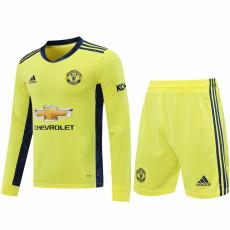 20-21 Man Utd Yellow Goalkeeper Long Sleeve Soccer Jersey (Full