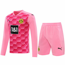 20-21 Dortmund Pink Goalkeeper Long Sleeve Soccer Jersey (Full Sets )