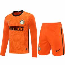 20-21 INT Orange Goalkeeper Long Sleeve Soccer Jersey (Full Sets )