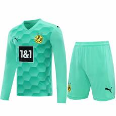 20-21 Dortmund Green Goalkeeper Long Sleeve Soccer Jersey (Full Sets )