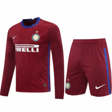 20-21 INT Red Goalkeeper Long Sleeve Soccer Jersey (Full Sets )
