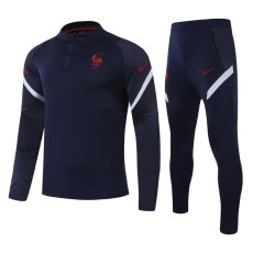 20-21 France Blue Half Pull Sweater Tracksuit