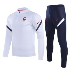 20-21 France White Half Pull Sweater Tracksuit