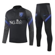 20-21 Netherlands Black Half Pull Sweater Tracksuit