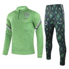 20-21 Nigeria Green Half Pull Sweater Tracksuit