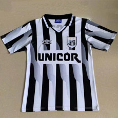 1998-1999 Santos FC Home White and Black Retro Soccer Jersey