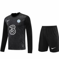 20-21 CHE Black GoalKeeper Long sleeve Soccer Jersey(Full Sets )
