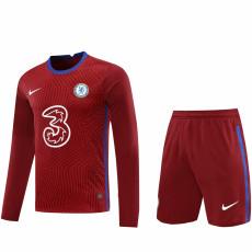 20-21 CHE Red GoalKeeper Long sleeve Soccer Jersey(Full Sets )