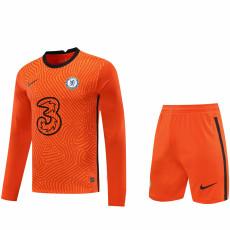 20-21 CHE Orange GoalKeeper Long sleeve Soccer Jersey(Full Sets )