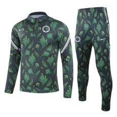 20-21 Nigeria Green And Black Half Pull Sweater Tracksuit