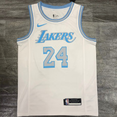 New Lakers Bryant #24 Crew Neck Limited Edition Top Quality White Hot Pressing NBA Jersey