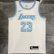 New Lakers James #23 Crew Neck Limited Edition White Top Quality Hot Pressing NBA Jersey