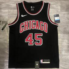 Bulls JDRDAN #45 Black Top Quality Hot Pressing NBA Jersey