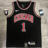 Bulls ROSE #1 Black Top Quality Hot Pressing NBA Jersey