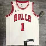 Bulls ROSE #1 White Top Quality Hot Pressing NBA Jersey