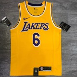 Lakers James #6 Crew Neck Yellow Top Quality Hot Pressing NBA Jersey