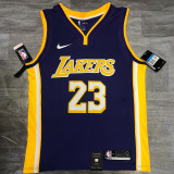 Lakers James #23 V- Neck Purple Top Quality Hot Pressing NBA Jersey