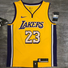Lakers James #23 V- Neck Yellow Top Quality Hot Pressing NBA Jersey