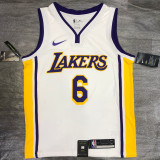 Lakers James #6 V- Neck White Top Quality Hot Pressing NBA Jersey