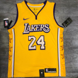 Lakers BRYANT #24 V- Neck City Edition Yellow Top Quality Hot Pressing NBA Jersey
