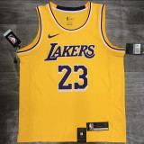 Lakers James #23 Crew Neck Yellow Top Quality Hot Pressing NBA Jersey