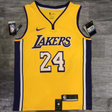 Lakers BRYANT #24 V- Neck Yellow Top Quality Hot Pressing NBA Jersey