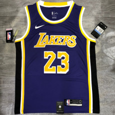 Lakers James #23 Crew Neck Purple Top Quality Hot Pressing NBA Jersey