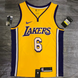 Lakers James #6 V- Neck Yellow Top Quality Hot Pressing NBA Jersey