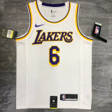Lakers James #6 Crew Neck White Top Quality Hot Pressing NBA Jersey
