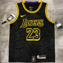 Lakers James #23 Crew Neck Black Top Quality Hot Pressing NBA Jersey