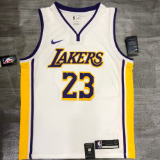 Lakers James #23 V- Neck White Top Quality Hot Pressing NBA Jersey