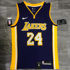 Lakers BRYANT #24 V- Neck Purple Top Quality Hot Pressing NBA Jersey