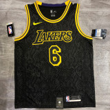Lakers James #6 Crew Neck Black Top Quality Hot Pressing NBA Jersey