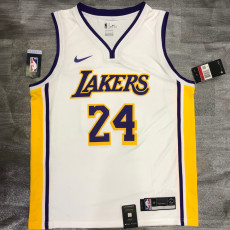 Lakers BRYANT #24 V- Neck White Top Quality Hot Pressing NBA Jersey