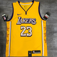 Lakers James #23 V- Neck City Edition Yellow Top Quality Hot Pressing NBA Jersey