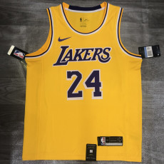 Lakers BRYANT #24 Crew Neck Yellow Top Quality Hot Pressing NBA Jersey