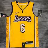 Lakers James #6 V- Neck City Edition Yellow Top Quality Hot Pressing NBA Jersey