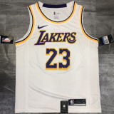 Lakers James #23 Crew Neck White Top Quality Hot Pressing NBA Jersey