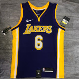 Lakers James #6 V- Neck Purple Top Quality Hot Pressing NBA Jersey