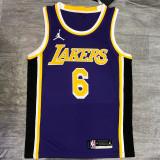 Lakers James Jordan #6 Purple Top Quality Hot Pressing NBA Jersey