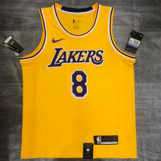 Lakers BRYANT #8 Crew Neck Yellow Top Quality Hot Pressing NBA Jersey