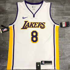 Lakers BRYANT #8 V- Neck White Top Quality Hot Pressing NBA Jersey