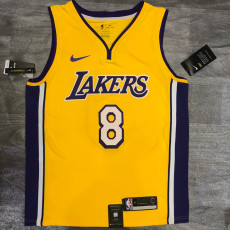 Lakers BRYANT #8 V- Neck Yellow Top Quality Hot Pressing NBA Jersey