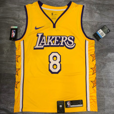 Lakers BRYANT #8 V- Neck City Edition Yellow Top Quality Hot Pressing NBA Jersey