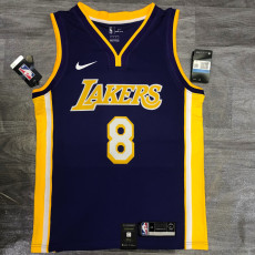 Lakers BRYANT #8 V- Neck Purple Top Quality Hot Pressing NBA Jersey