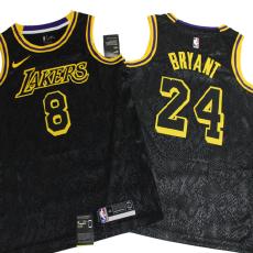 前8后24 Lakers Before Bryant #8 After Bryant #24 Crew Neck Black Top Quality Hot Pressing NBA Jersey